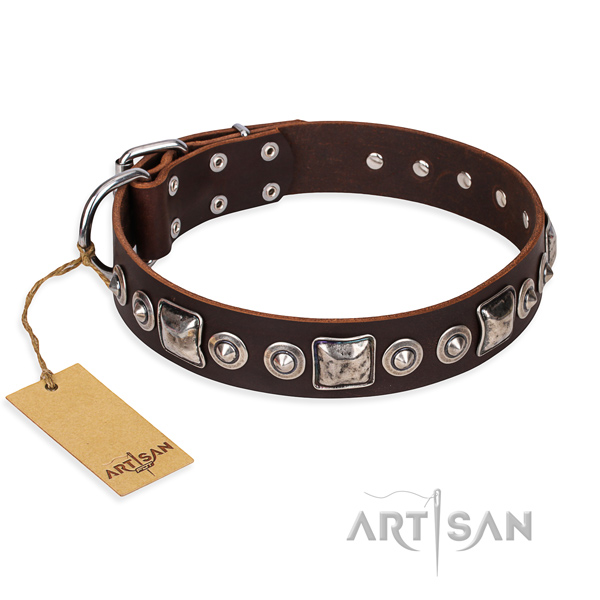 Full grain natural leather dog collar made of top rate material with reliable fittings