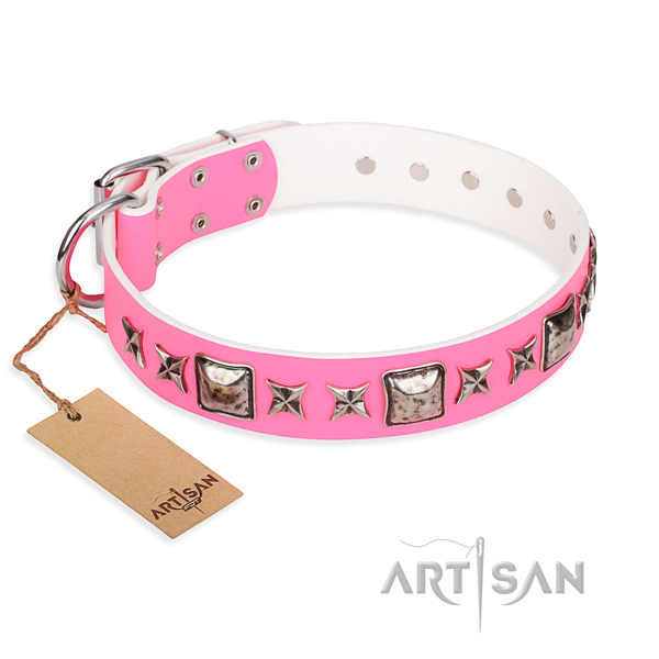 Genuine leather dog collar made of quality material with reliable D-ring