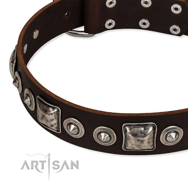 Genuine leather dog collar made of flexible material with adornments