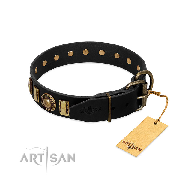 Soft full grain genuine leather dog collar with studs