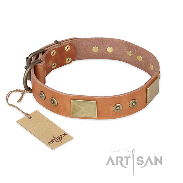 Adjustable full grain natural leather dog collar for comfy wearing