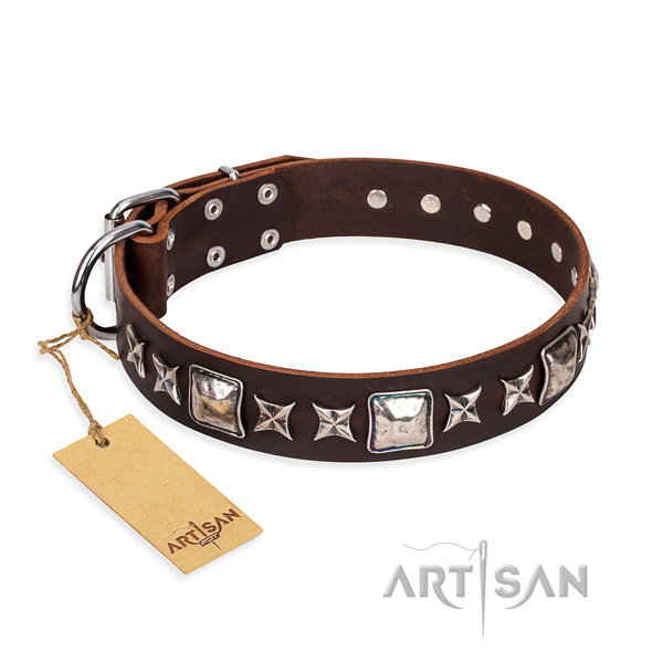 Handy use dog collar of top notch natural leather with decorations