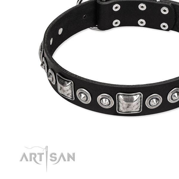 Natural genuine leather dog collar made of high quality material with decorations