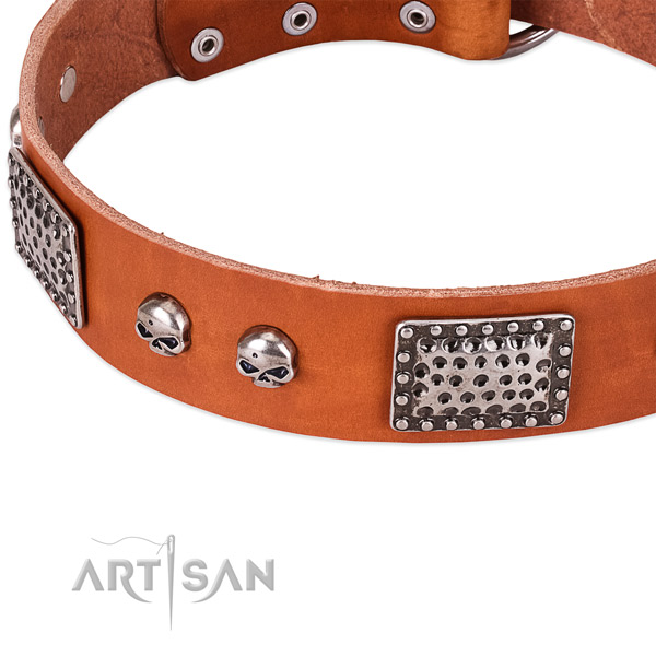 Rust-proof D-ring on leather dog collar for your doggie