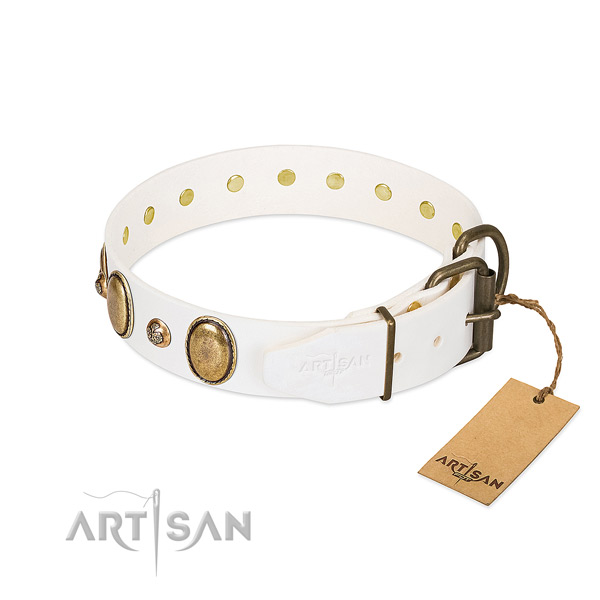 Handy use natural genuine leather dog collar
