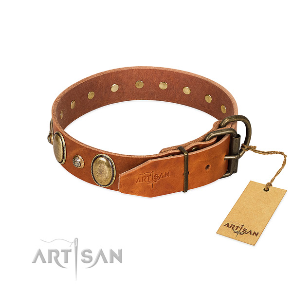 Best quality natural leather dog collar with durable traditional buckle