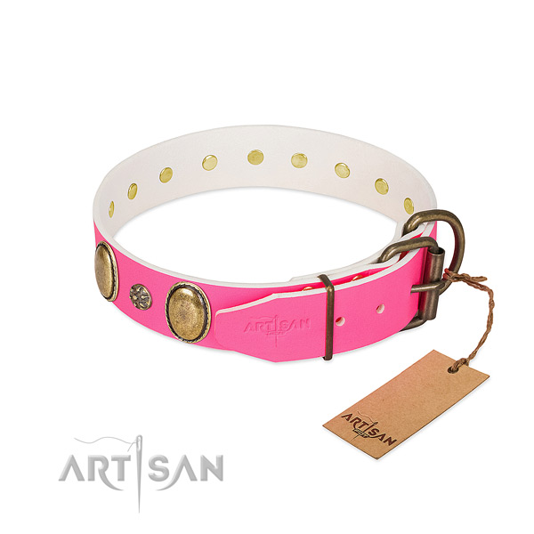 High quality full grain natural leather dog collar with embellishments