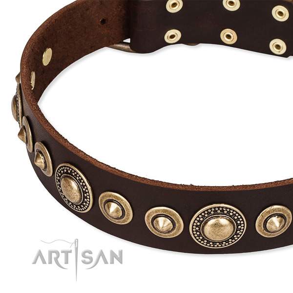 Soft to touch genuine leather dog collar handmade for your lovely canine