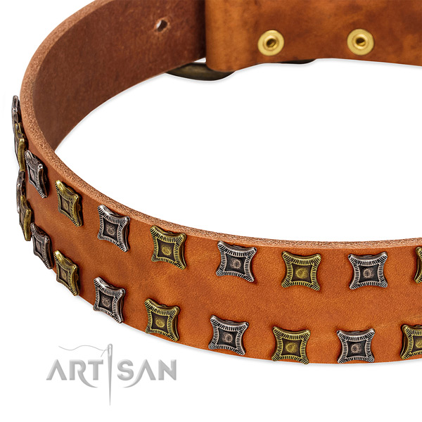 Gentle to touch natural leather dog collar for your impressive pet