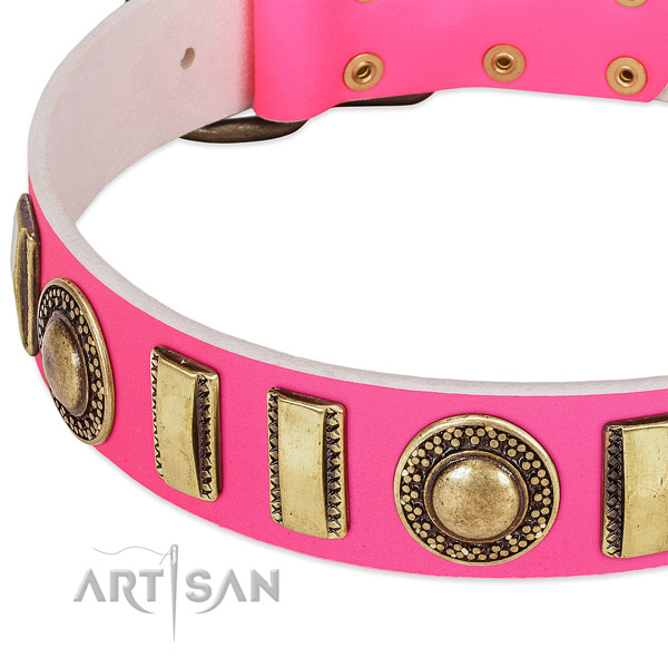 Durable full grain genuine leather dog collar for your stylish doggie