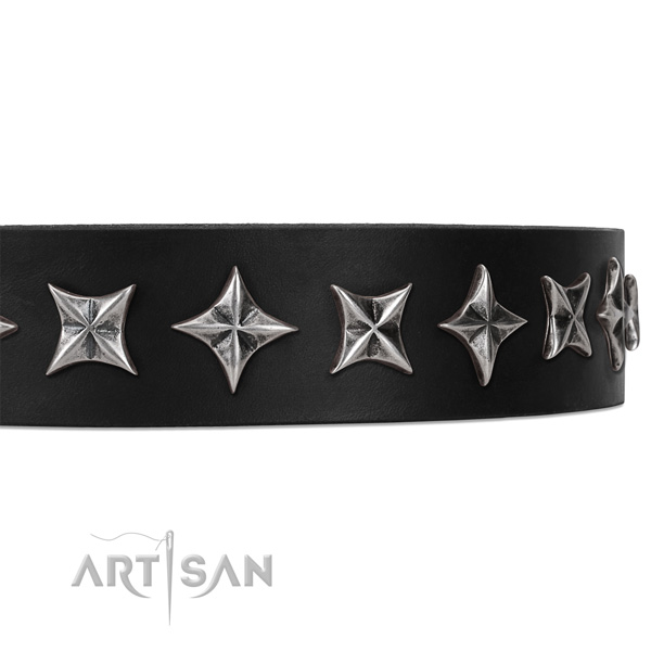 Everyday use embellished dog collar of strong genuine leather