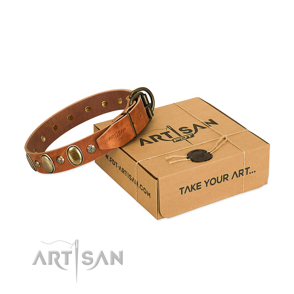 Inimitable natural leather dog collar with corrosion resistant D-ring