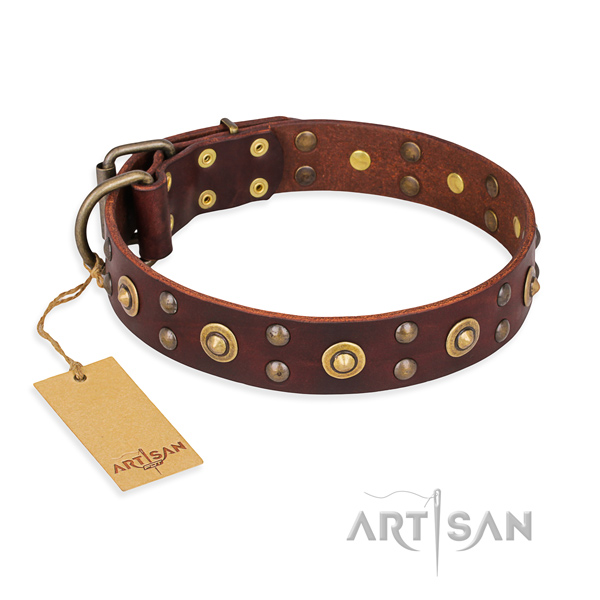 Adjustable full grain genuine leather dog collar with reliable traditional buckle