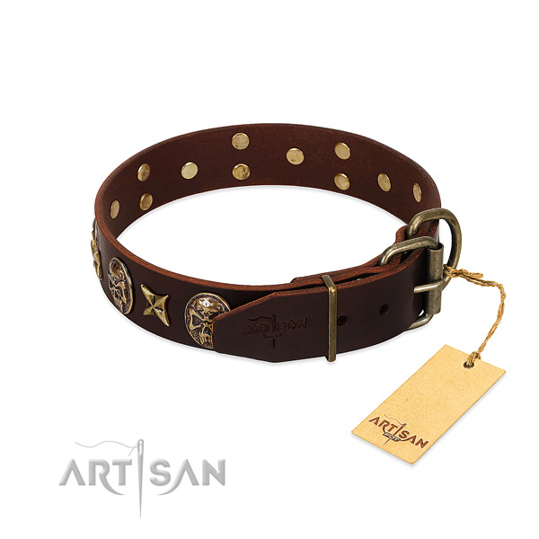 Full grain genuine leather dog collar with durable fittings and decorations