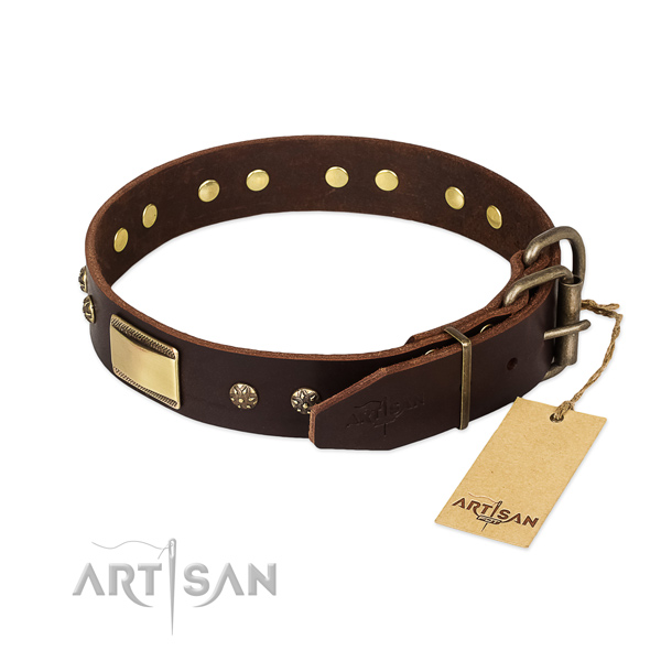 Fine quality full grain genuine leather collar for your four-legged friend