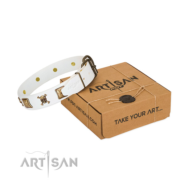 Exceptional full grain natural leather dog collar with durable studs