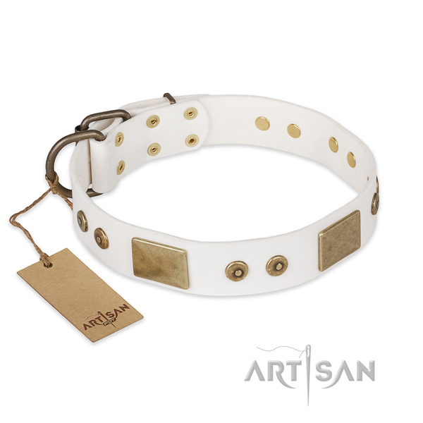 Trendy genuine leather dog collar for handy use