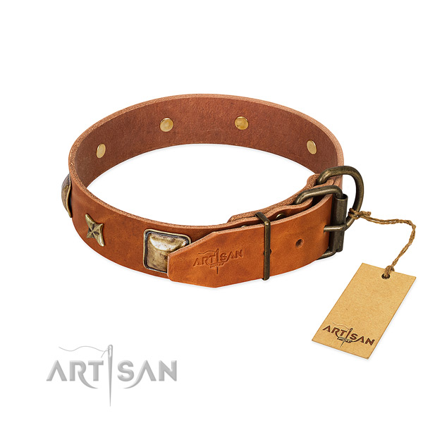 Full grain genuine leather dog collar with strong D-ring and studs
