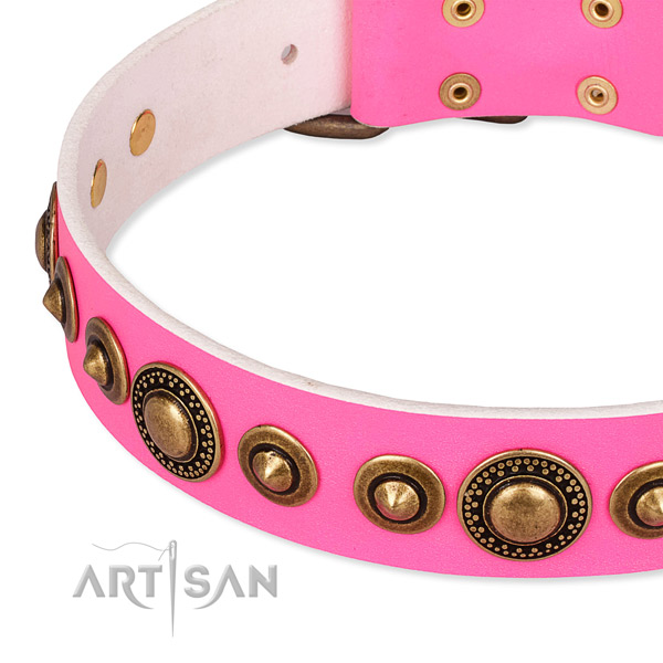 Gentle to touch full grain natural leather dog collar made for your lovely pet