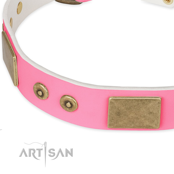 Full grain genuine leather dog collar with decorations for handy use