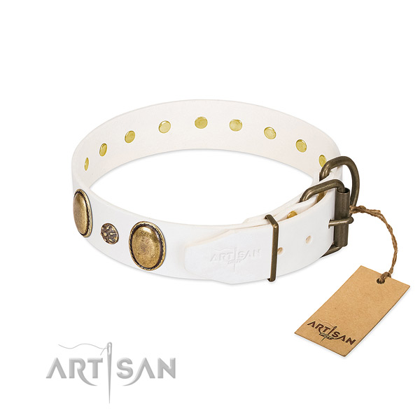 Easy wearing reliable natural genuine leather dog collar