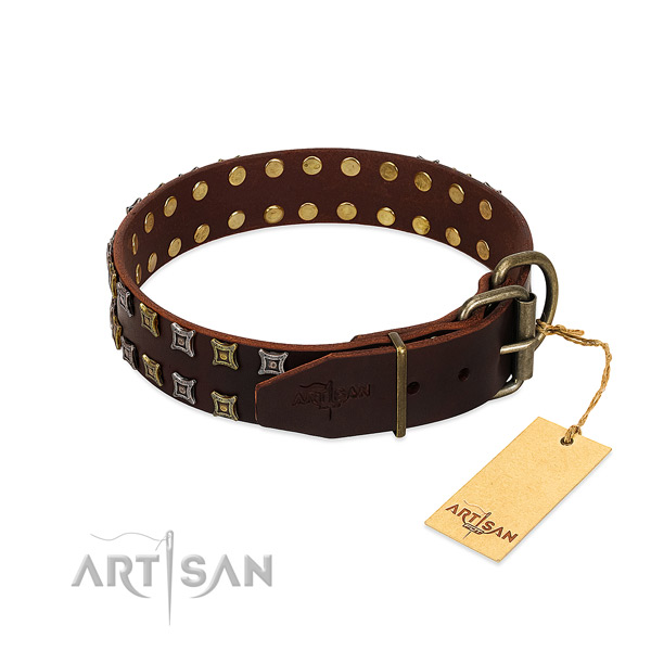 Soft full grain leather dog collar handcrafted for your dog