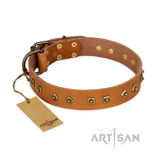 Handcrafted full grain leather dog collar with corrosion proof buckle