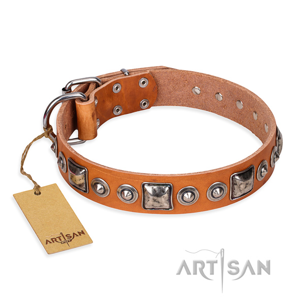 Full grain leather dog collar made of soft material with corrosion proof fittings