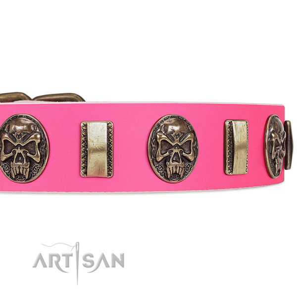 Durable studs on natural genuine leather dog collar for your dog