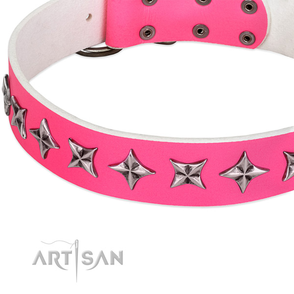 Handy use embellished dog collar of strong full grain leather