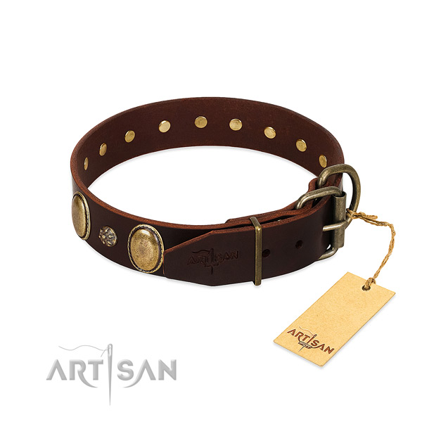 Fancy walking flexible full grain natural leather dog collar