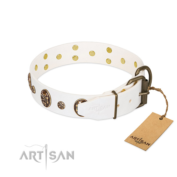 Rust-proof fittings on full grain natural leather dog collar for your canine