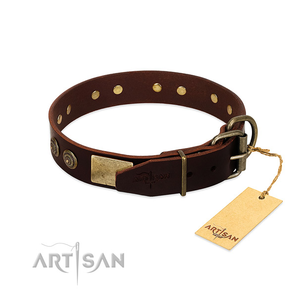 Corrosion resistant hardware on full grain leather dog collar for your pet