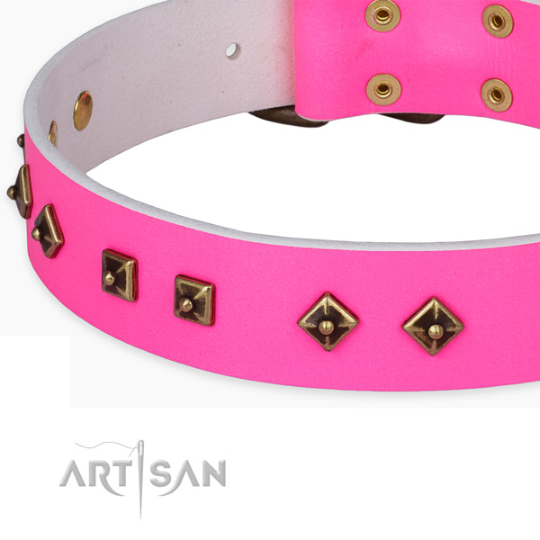 Stylish full grain natural leather collar for your lovely pet