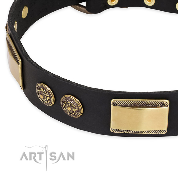 Handmade natural genuine leather collar for your beautiful dog