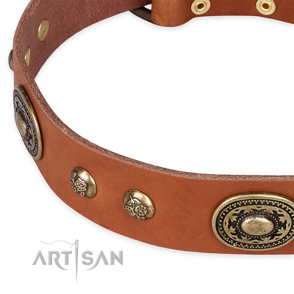 Adjustable full grain leather collar for your beautiful doggie