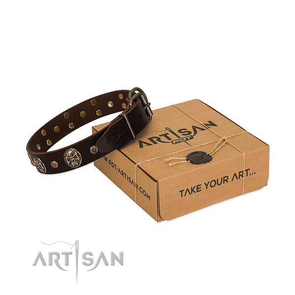Strong traditional buckle on full grain leather dog collar for your pet