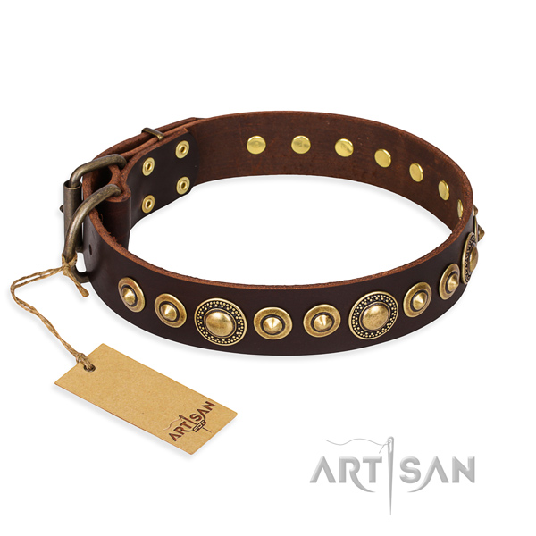 High quality natural genuine leather collar created for your doggie