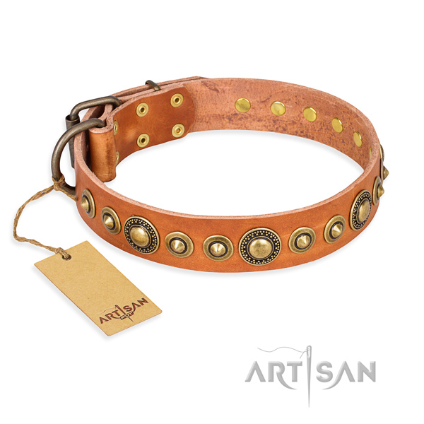 Soft full grain genuine leather collar created for your doggie