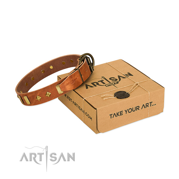 Soft full grain natural leather dog collar with durable hardware