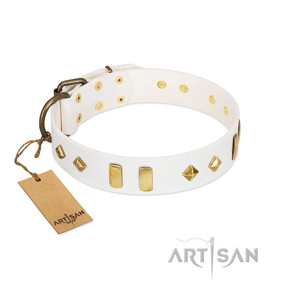 Easy wearing best quality leather dog collar with adornments