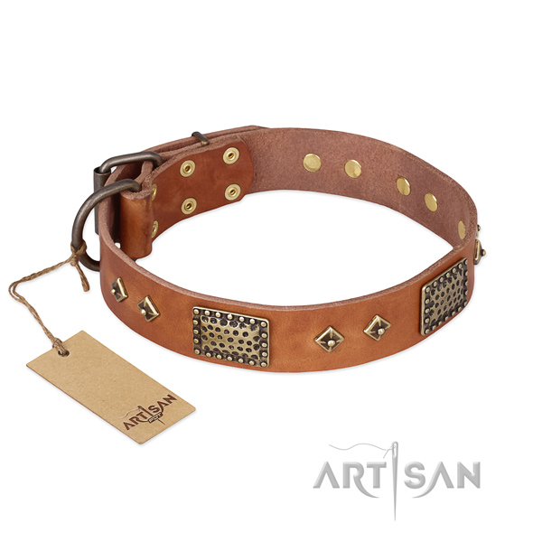 Handcrafted full grain genuine leather dog collar for comfortable wearing