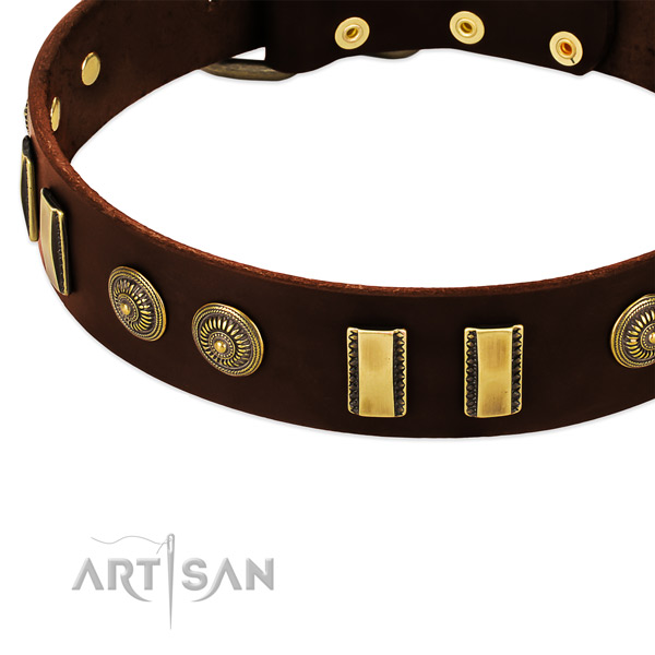 Corrosion proof traditional buckle on full grain leather dog collar for your doggie
