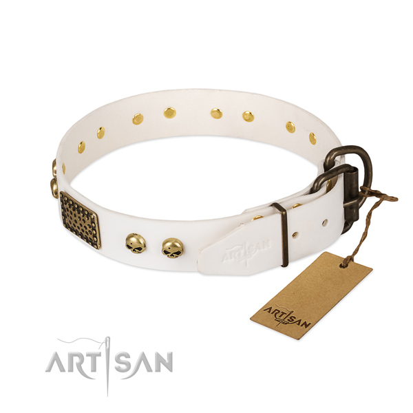Easy wearing natural leather dog collar for walking your dog