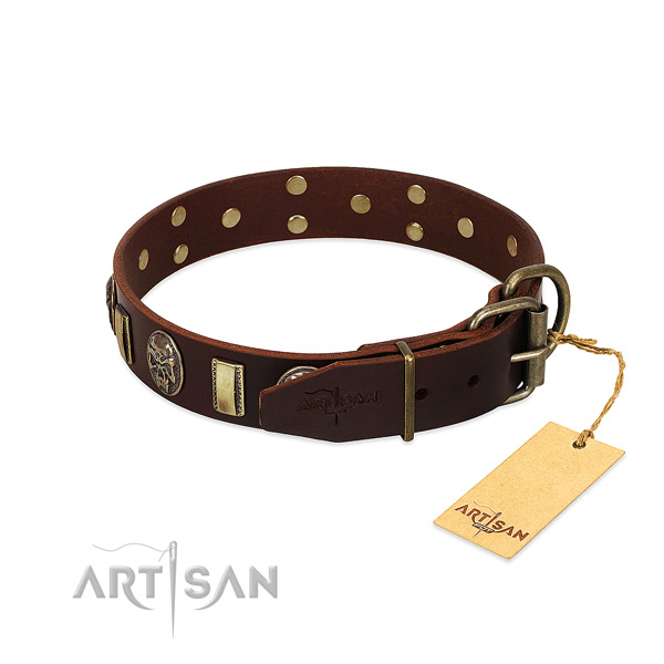 Full grain natural leather dog collar with strong fittings and studs