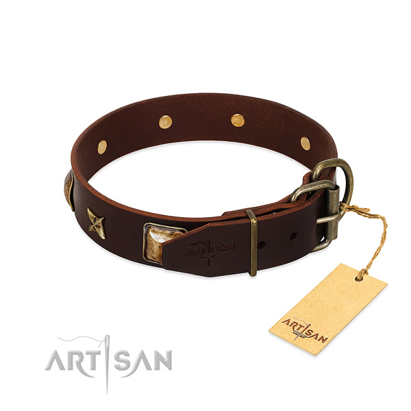 Leather dog collar with corrosion proof buckle and studs