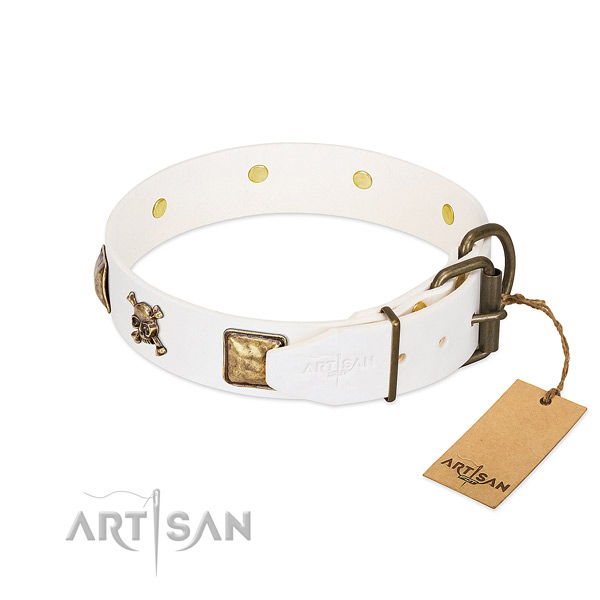 Designer natural leather dog collar with rust-proof studs