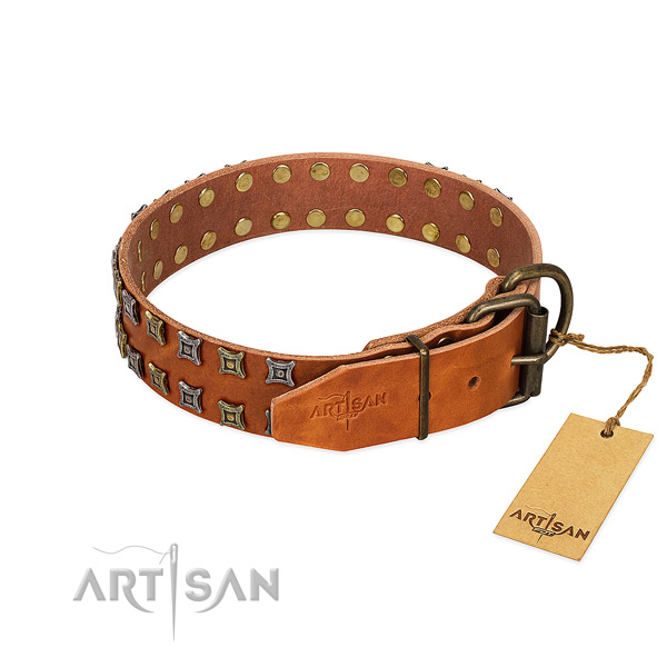 High quality leather dog collar made for your doggie