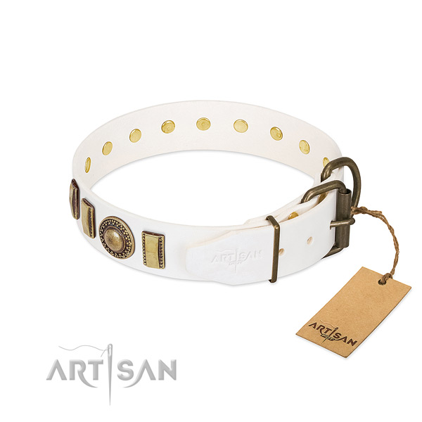 Top rate natural leather dog collar handmade for your dog
