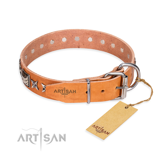 Durable decorated dog collar of leather